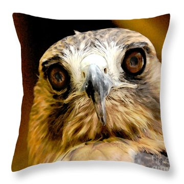 Hawkeye Throw Pillow by Lois Bryan