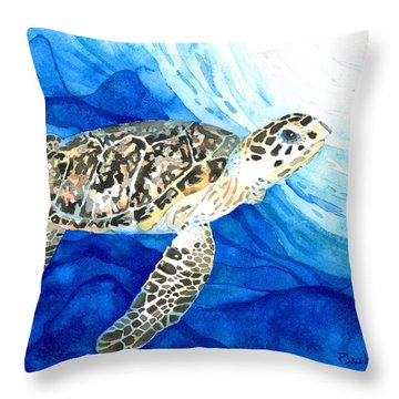 Hawksbill Sea Turtle 2 Throw Pillow