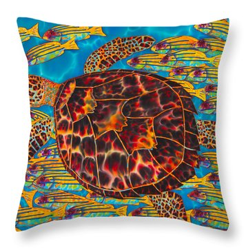 Hawksbill Sea  Turtle And  Snappers Throw Pillow