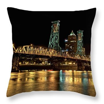 Hawthorne Bridge Over Willamette River Throw Pillow
