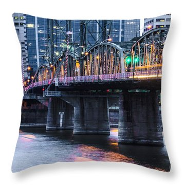 Hawthorne Bridge Portland Oregon Throw Pillow by Patricia Babbitt