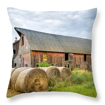Hay Bales And Old Barns Throw Pillow by Gary Heller