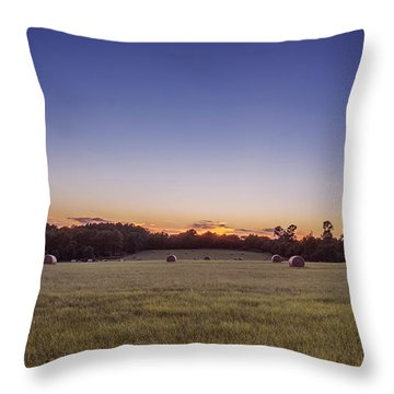 Hay Bales In A Field At Sunset Throw Pillow