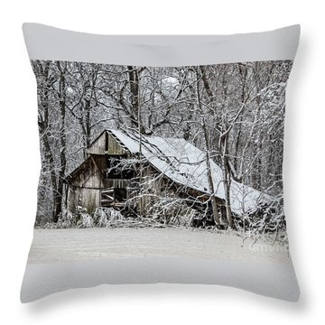 Throw Pillow featuring the photograph Hay Barn In Snow by Debbie Green