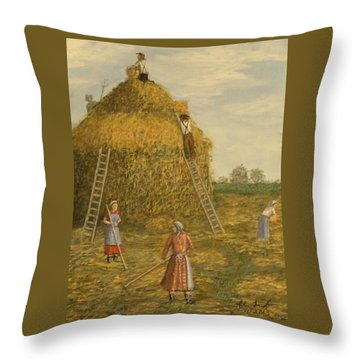 Hay Days. Throw Pillow by Larry Lamb