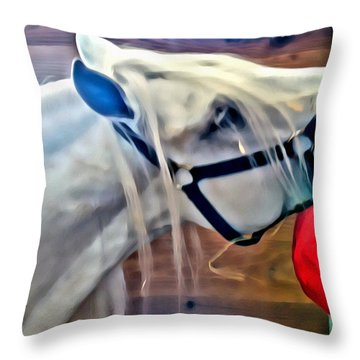 Hay For The White Horse Throw Pillow by Alice Gipson