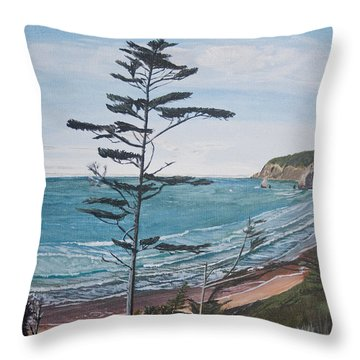 Hay Stack Rock From The South On The Oregon Coast Throw Pillow