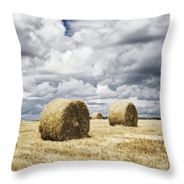 Haybales In A Field In England Uk Throw Pillow by Jon Boyes