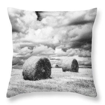 Haybales Uk Throw Pillow by Jon Boyes
