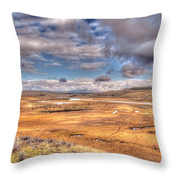 Hayden Valley Bison On Yellowstone River Throw Pillow