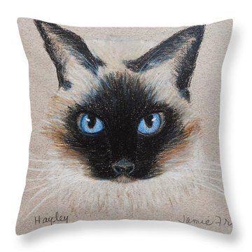 Throw Pillow featuring the drawing Hayley by Jamie Frier