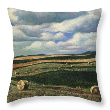 Hayrolls On Swirl Field In Latrobe By Christopher Shellhammer Throw Pillow