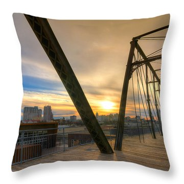 Hays Street Bridge At Sunset Throw Pillow