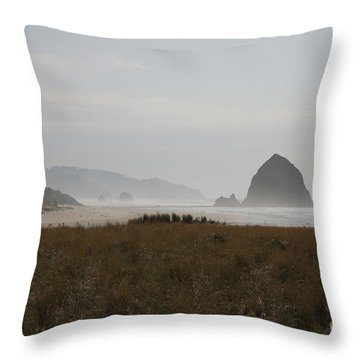 Haystack In Mist Throw Pillow
