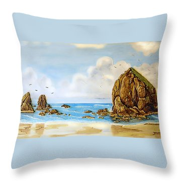 Throw Pillow featuring the relief Haystack Relief by Wendy McKennon