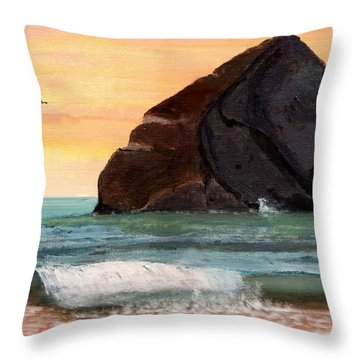 Haystack Rock At Kiwanda Throw Pillow