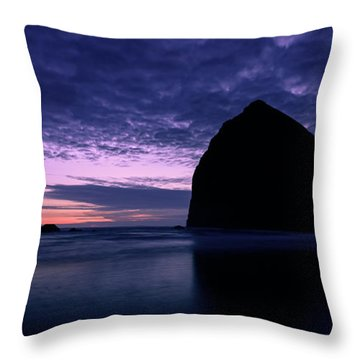 Haystack Rock Twilight Throw Pillow by Dan Mihai
