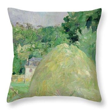 Haystacks At Bougival Throw Pillow by Berthe Morisot