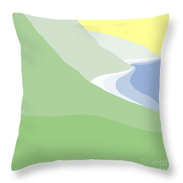 Hazy Coastline Throw Pillow