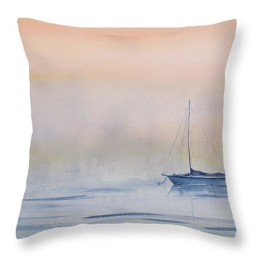 Hazy Day Watercolor Painting Throw Pillow