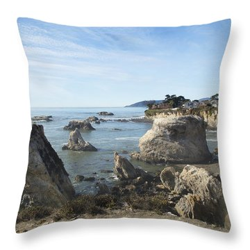 Hazy Lazy Day Pismo Beach California Throw Pillow by Barbara Snyder