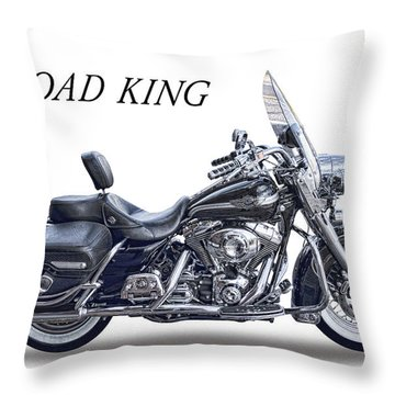 H D Road King Throw Pillow by Daniel Hagerman