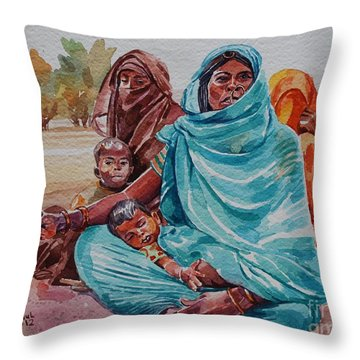 Hdndoh Eastern Sudan Throw Pillow by Mohamed Fadul