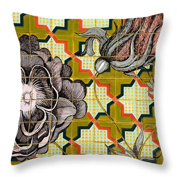 Hdr Tiled Flowers Throw Pillow by MaryJane Armstrong