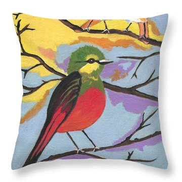 Throw Pillow featuring the painting He Aint That Tweet by Kathleen Sartoris