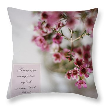 He Is My Refuge Throw Pillow by Inspired Arts
