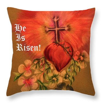 He Is Risen Greeting Card Throw Pillow by Maria Urso