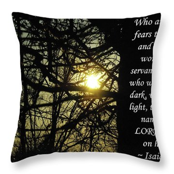 He Who Walks In Darkness Throw Pillow by Robyn Stacey