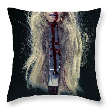 Head And Knife Throw Pillow by Joana Kruse