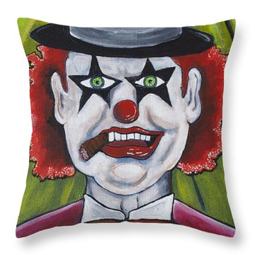 Head Clown Throw Pillow by Patricia Arroyo