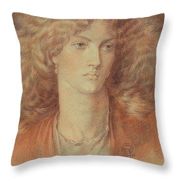 Head Of A Woman Called Ruth Herbert Throw Pillow by Dante Charles Gabriel Rossetti