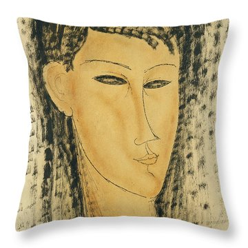 Head Of A Young Women Throw Pillow by Amedeo Modigliani