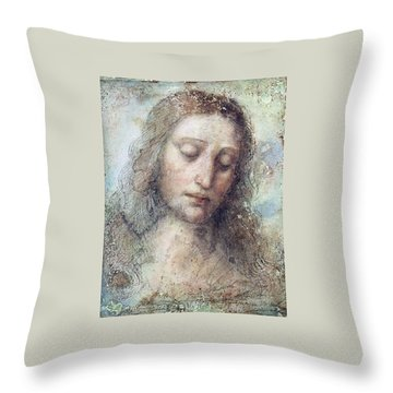 Throw Pillow featuring the drawing Head Of Christ Restoration Art Work by Karon Melillo DeVega
