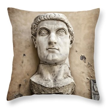 Head Of Constantine Throw Pillow by Joan Carroll
