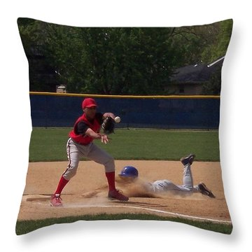 Head Slide In Baseball Throw Pillow by Thomas Woolworth