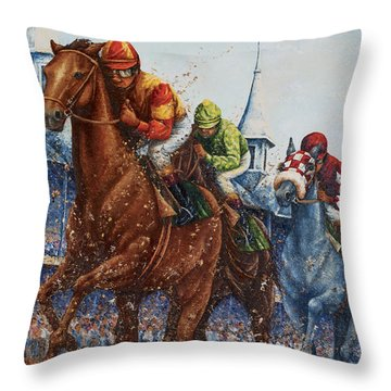 Heading For Home - The Race Throw Pillow