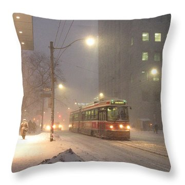 Heading Home In The Snowstorm Throw Pillow