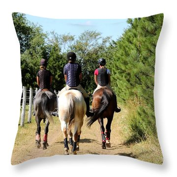 Heading To The Cross Country Course Throw Pillow