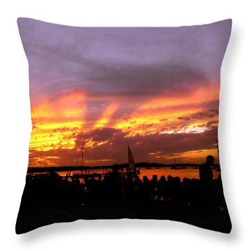 Headlights Of Sunset Throw Pillow by Zafer Gurel