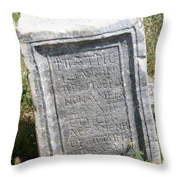 Headstone In The Basilica Church Aphrodisias Throw Pillow by Tracey Harrington-Simpson