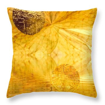 Healing In Golden World Throw Pillow by Ray Tapajna