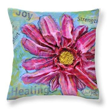 Healing Pink Zinnia Throw Pillow by Lisa Fiedler Jaworski