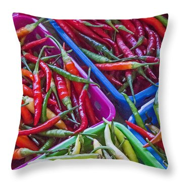 Healthy Chili Peppers Throw Pillow