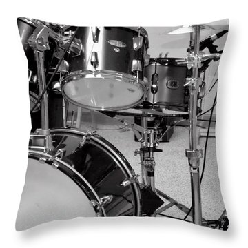Hear The Music - A Drum Set Up For Recording Throw Pillow