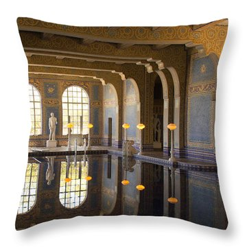 Hearst Castle Roman Pool Reflection Throw Pillow by Heidi Smith