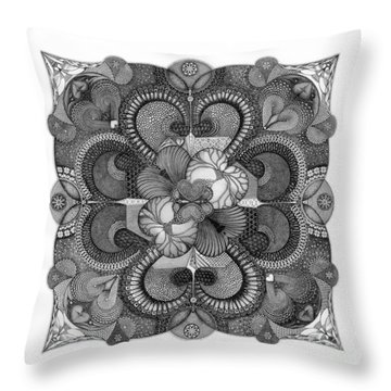 Throw Pillow featuring the drawing Heart To Heart by James Lanigan Thompson MFA